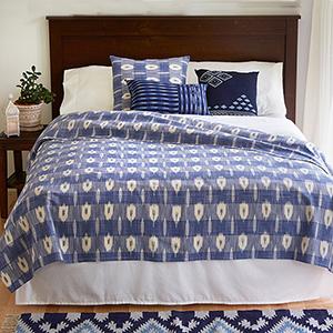 Blue & White Ikat Coverlet