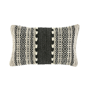 Kilim Lumbar Pillow - Black & Natural