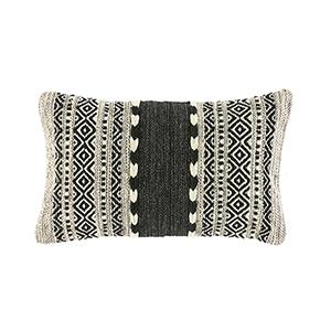 Black & Natural Kilim Lumbar Pillow