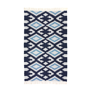 Cotton Chenille Diamond Rug - Dove & Blue