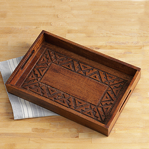 Natural Rangoli Wood Tray