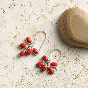 Crimson Cluster Earrings