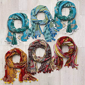 Pack of 6 Kantha Scarves