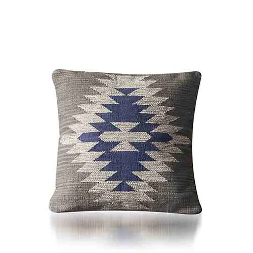 Kilim Square Pillow - Blue & Gray
