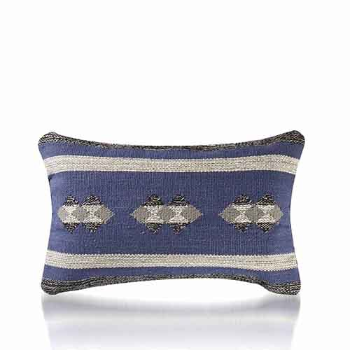 Kilim Lumber Pillow - Blue & Gray