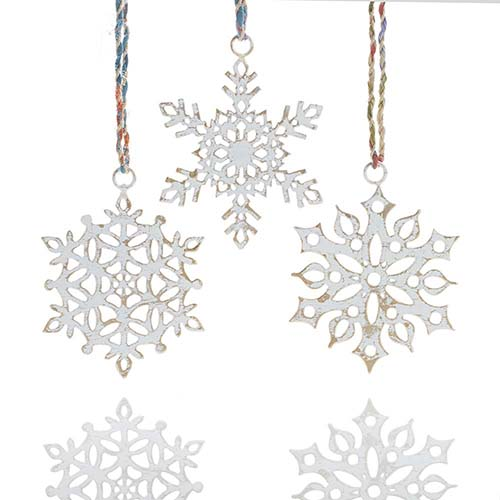White Snowflake Ornaments - Set of 3