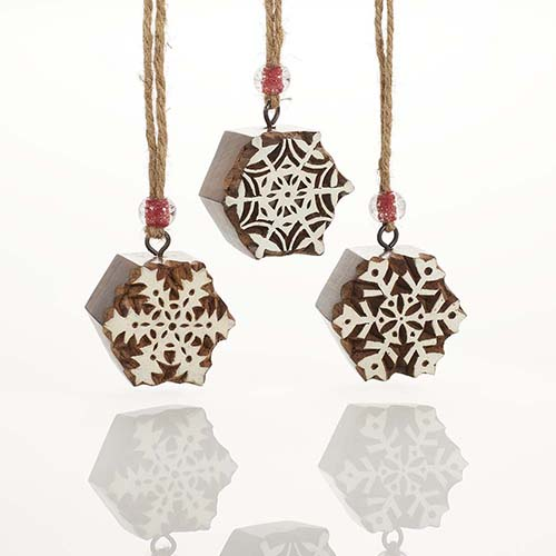Woodblock Snowflake Ornament Set