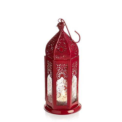 Medium Red Moroccan Motif Lantern