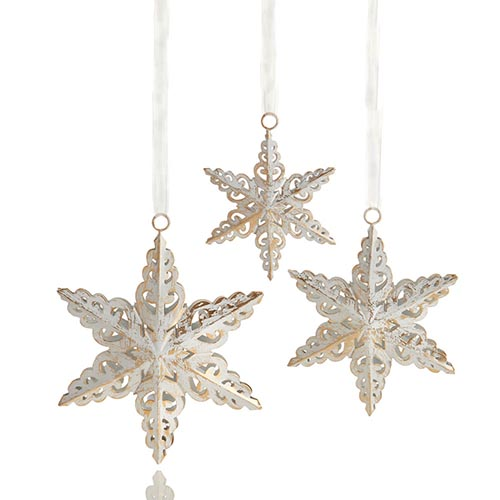 Antique White Snowflake Ornaments - Set of 3