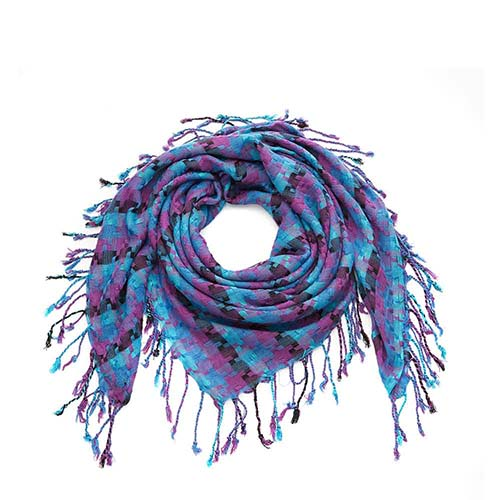 Blue Mix Square Ribbon Scarf