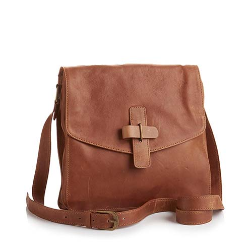 Kolkata Leather Crossbody Bag - Dark Camel