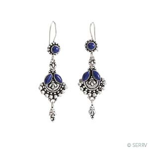 Long Lapis Fan Earrings