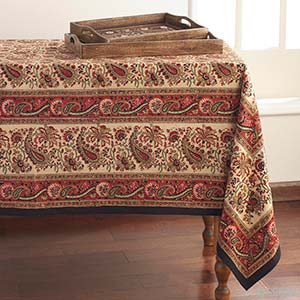 Autumn Leaf Block-Print Tablecloth