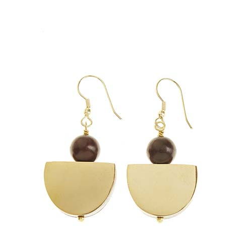 Wood and Brass Half Moon Earrings