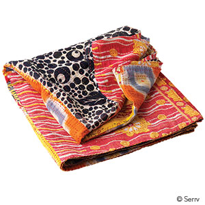 Warm Kantha Patchwork Square Throw