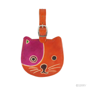 Cat Leather Luggage Tag