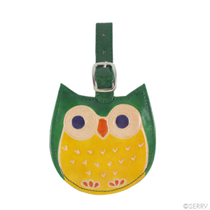 Owl Leather Luggage Tag