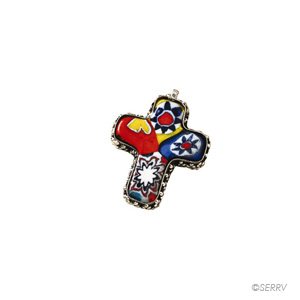 Multicolored Glass Cross Pendant