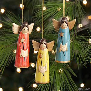 Smiling Angel Ornaments - Set of 3