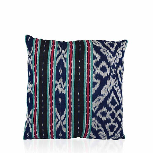 Ikat Dobi Square Pillow - Navy & Black
