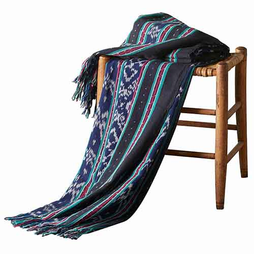 Ikat Dobi Throw - Navy & Black