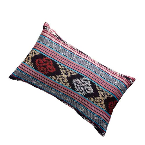 Ikat Dobi Lumbar Pillow - Pink & Teal