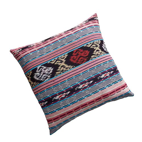 Ikat Dobi Square Pillow - Pink & Teal