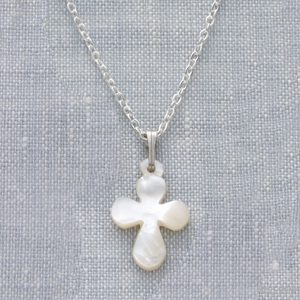 Mini Mother of Pearl Cross Necklace