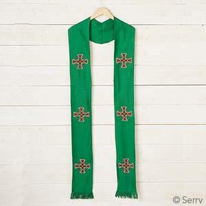 Jerusalem Cross Stole - Green
