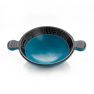 Medium Blue Tab Soapstone Bowl