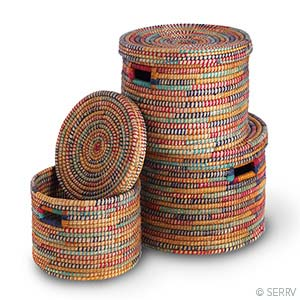 Round Rainbow Baskets - Set of 3