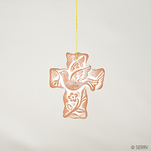Terracotta Cross Ornament