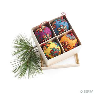 Colorful Jute Ornaments - Set of 4