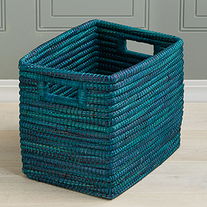 Teal Rectangle Basket