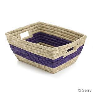 Purple Singular Stripe Rectangle Basket