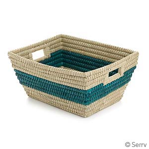 Teal Singular Stripe Rectangle Basket