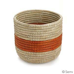 Orange Singular Stripe Round Basket