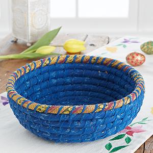 Round Indigo Chindi Basket