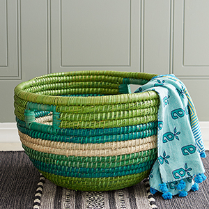 Green Stripe Bucket Basket