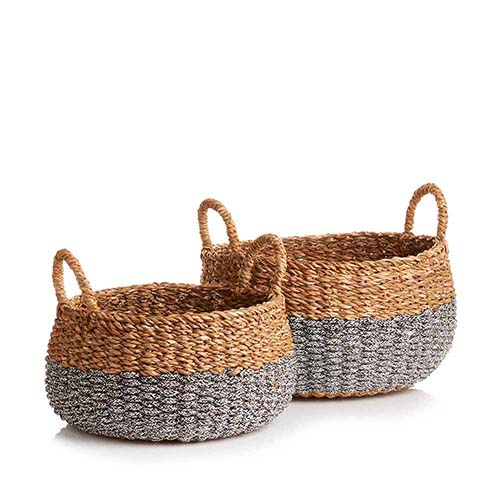 Small & Medium Hogla Two-Tone Baskets (XL) Set of 2