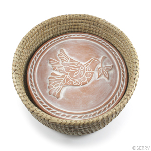 Peace Dove Breadwarmer in Natural Basket