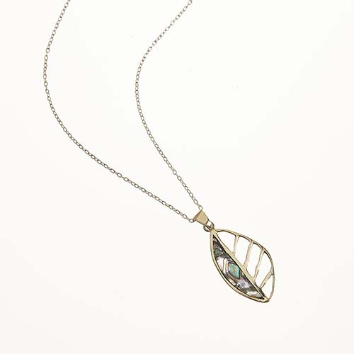 Abalone Cutout Leaf Pendant Necklace