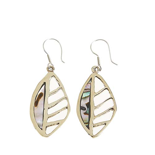 Abalone Cutout Leaf Earrings