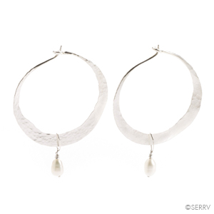 Silver Hoops with Pearl Earrings