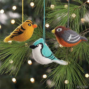 Felted Bird Ornaments - Set of 3