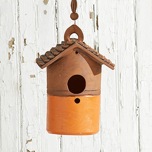 Tall Nepali Birdhouse - Orange Base