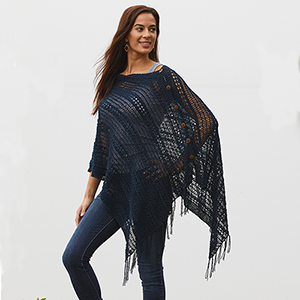 Crocheted Cotton Poncho - Navy