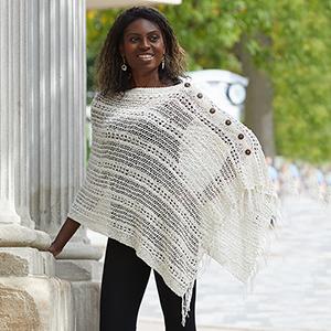 Crocheted Cotton Poncho - Cream