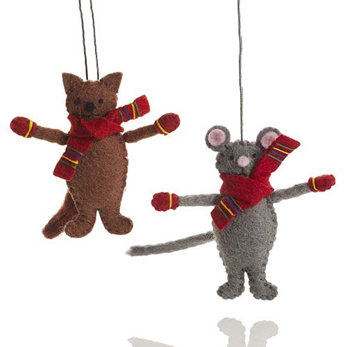 Cat & Mouse Ornament Set