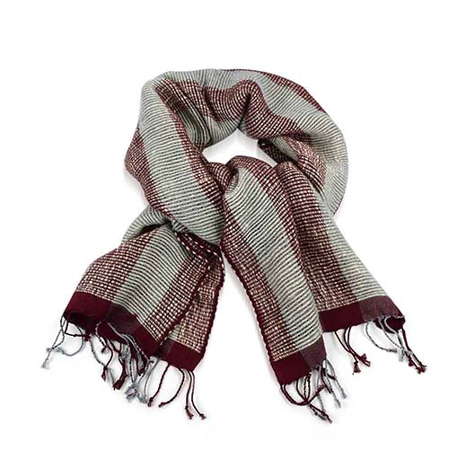 Bunai Scarf - Berry & Gray
